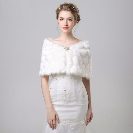 White Winter Snakeskin Print Faux Fur Prom Evening Party Wedding Shawls 2017