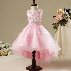 Schöne Saal Kleider Für Hochzeit 2017 Mädchenkleider Rosa Asymmetrisch Ballkleid Rundhalsausschnitt Ärmellos Mit Spitze Applikationen Blumen Perle Strass