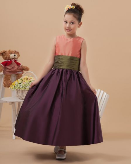 Beautiful Taffeta Belt Long Flower Girl Dresses