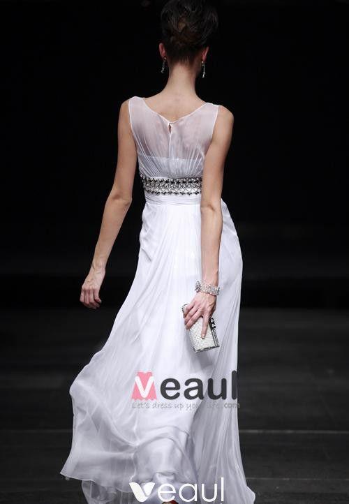 Empire Off-The-Shoulder Floor Length Sleeveless Bead Chiffon Satin evening Dresses