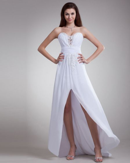 Sweetheart Beading Pleated Floor Length Chiffon Empire Wedding Dress
