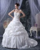 Stylish Satin Sweetheart Ruffle Court A-Line Bridal Gown Wedding Dress