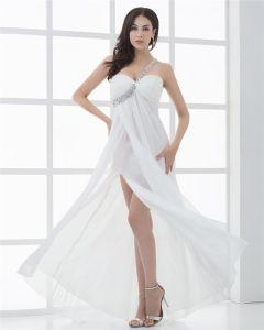 Mousseline De Soie Une Epaule Perles Etage Longueur Robe De Bal Plisse Femmes