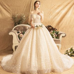 Elegant Champagne Wedding Dresses 2019 A-Line / Princess Off-The-Shoulder Short Sleeve Backless Beading Tassel Glitter Sequins Chapel Train Ruffle