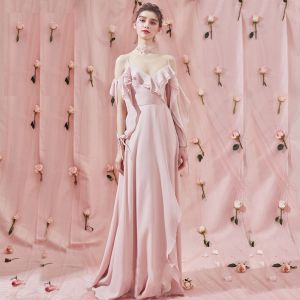 Amazing / Unique Sweep Train Blushing Pink Evening Dresses  2018 A-Line / Princess V-Neck Chiffon Long Sleeve Puffy Backless Formal Dresses