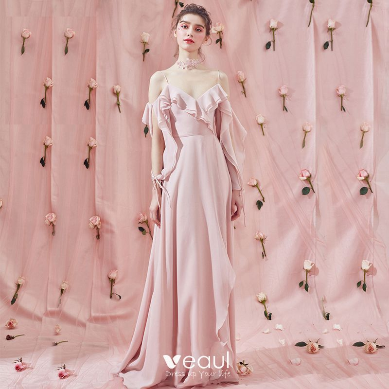 6866d23f42 Amazing / Unique Sweep Train Blushing Pink Evening Dresses 2018 A ...