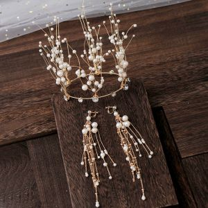 Luksusowe Złote Tiara Kolczyki Perła Rhinestone Akcesoria 2019 Ozdoby Do Włosów Ślubne