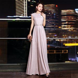 Chic / Belle Rougissant Rose Robe De Soirée 2019 Princesse Encolure Dégagée Glitter Polyester Ceinture Sans Manches Longue Robe De Ceremonie