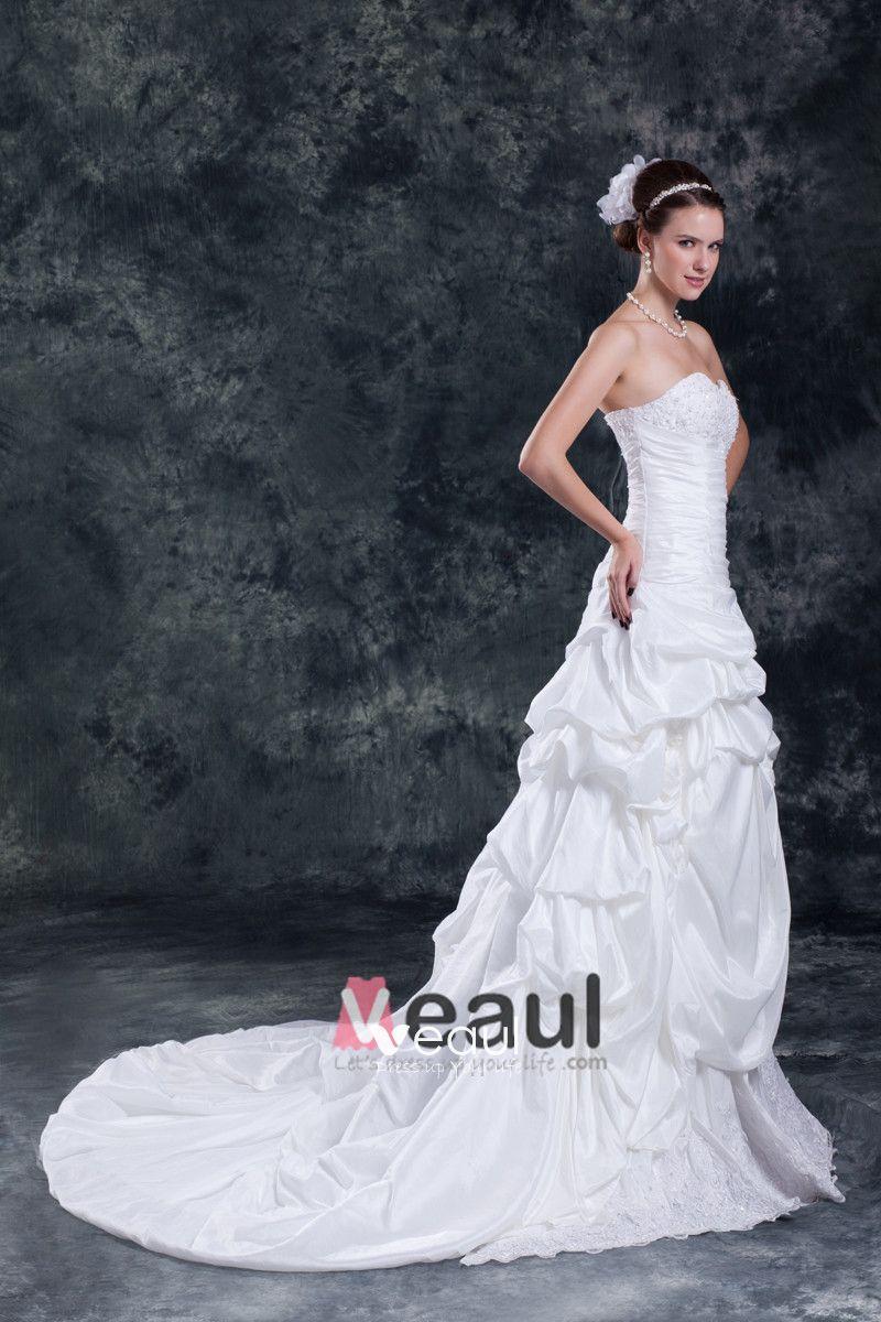 Taffeta Ruffle Applique Flower Court Train Sweetheart Women A Line Wedding Dress
