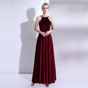 Chic / Beautiful Red Evening Dresses  2017 A-Line / Princess High Neck Backless Beading Rhinestone Evening Party Formal Dresses