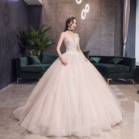 Charming Champagne Corset Wedding Dresses 2019 Princess Sweetheart Sleeveless Backless Appliques Lace Beading Glitter Tulle Cathedral Train