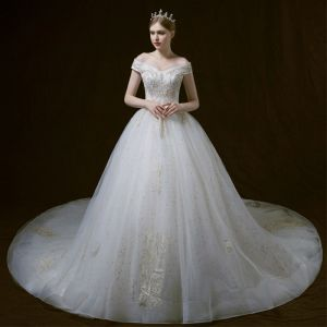 Bling Bling Ivory Wedding Dresses 2018 Ball Gown Off-The-Shoulder Short Sleeve Backless Star Appliques Lace Pearl Beading Cathedral Train Ruffle