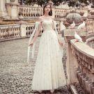Moderne / Mode Champagne Robe De Soirée 2019 Princesse Encolure Dégagée Perle En Dentelle Fleur Paillettes Sans Manches Dos Nu Longue Robe De Ceremonie