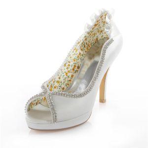 Elegante Hochzeitsschuhe 2016 Weißem Satin Stilettos Pumps 10cm Hohen Absatz Peeptoe