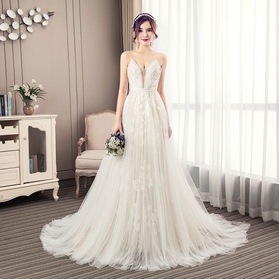 Elegant Champagne Pleated Wedding Dresses 2019 A-Line / Princess Spaghetti Straps Lace Flower Sleeveless Backless Court Train