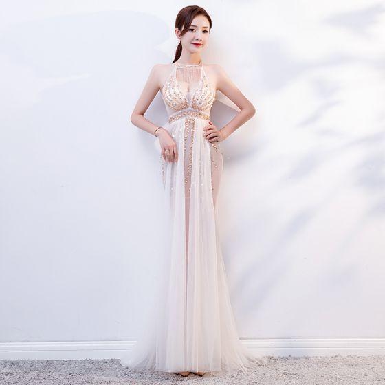 Sexy Weiß Durchsichtige Sommer Abendkleider 2019 Meerjungfrau Rundhalsausschnitt Ärmellos Perlenstickerei Lange Rüschen Rückenfreies Festliche Kleider