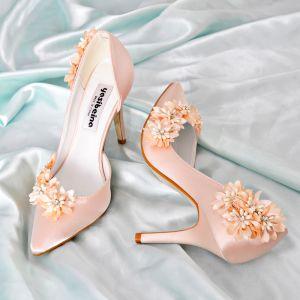 Edles Champagner Brautjungfer Hochzeit High Heels 2019 Leder Satin Applikationen Perle Strass 9 cm Stilettos Spitzschuh Brautschuhe