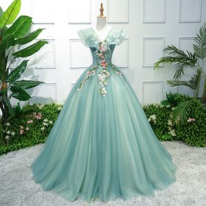 Flower Fairy Green Prom Dresses 2018 Ball Gown Appliques V-Neck Backless Sleeveless Floor-Length / Long Formal Dresses