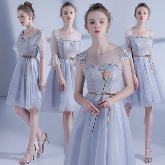 Affordable Grey See-through Bridesmaid Dresses 2021 A-Line / Princess Backless Appliques Flower Lace Beading Sash Short Ruffle