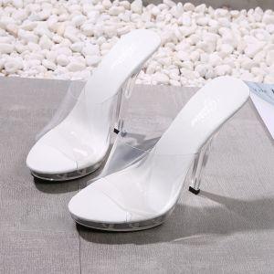 Transparent White Casual Womens Sandals 2020 12 cm Stiletto Heels Open / Peep Toe Sandals