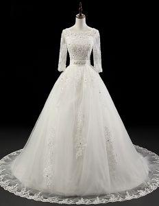 Robe De Mariage Boule Luxueuse 1/2 Manches Perlage Robe De Mariée