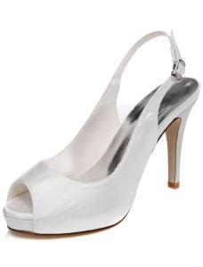 Elegant Hochzeitsschuhe Weiß Pumps Slingbacks High Heel Brautschuhe Stöckelschuhe