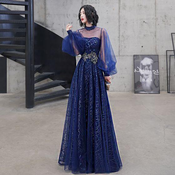 Elegancka Królewski Niebieski Sukienki Wieczorowe 2020 Princessa Wysokiej Szyi Cekiny Z Koronki Kwiat Długie Rękawy Bez Pleców Długie Sukienki Wizytowe