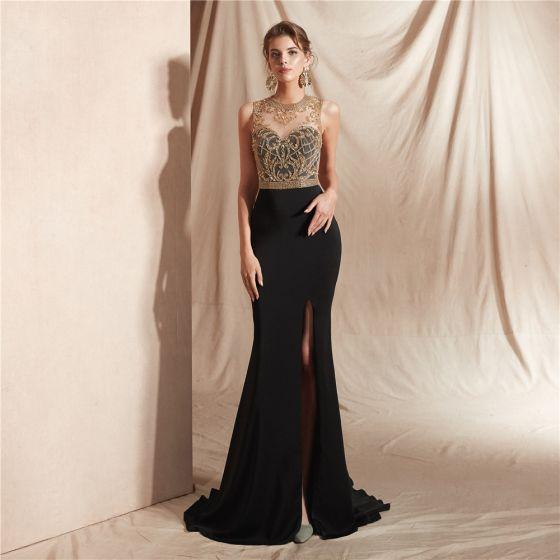 Wysokiej Klasy Czarne Przezroczyste Sukienki Wieczorowe 2020 Syrena / Rozkloszowane Wycięciem Bez Rękawów Frezowanie Podział Przodu Trenem Sweep Wzburzyć Sukienki Wizytowe