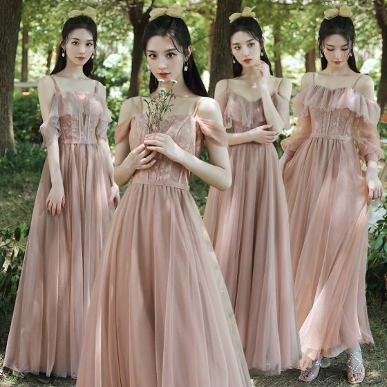 Modest / Simple Blushing Pink Bridesmaid Dresses 2021 A-Line / Princess Spaghetti Straps Lace Flower Short Sleeve Backless Floor-Length / Long Wedding Party Dresses