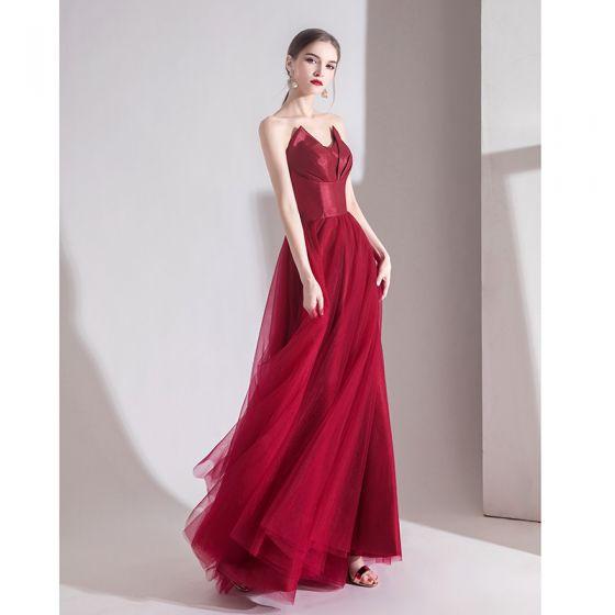 Classy Solid Color Burgundy Evening Dresses  2020 A-Line / Princess Strapless Sleeveless Backless Floor-Length / Long Formal Dresses
