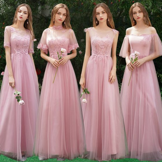 9b0f26e7b8 affordable-candy-pink-bridesmaid-dresses -2019-a-line-princess-appliques-lace-floor-length-long-ruffle-wedding-party- dresses-560x560.jpg