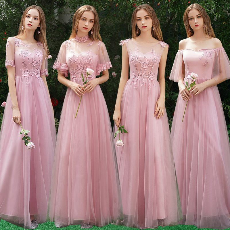 Affordable Candy Pink Bridesmaid Dresses 2019 A-Line / Princess Appliques Lace Floor-Length / Long Ruffle Wedding Party Dresses
