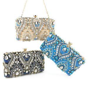 Mode Perlenstickerei Strass Quadratische Clutch Tasche 2020