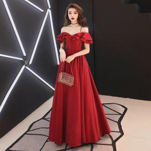 Sencillos Borgoña Vestidos de gala 2019 A-Line / Princess Fuera Del Hombro Manga Corta Sin Espalda Largos Vestidos Formales
