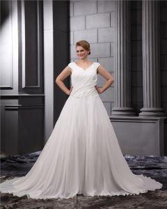 Chiffon Satin Ruffle V-Neck Court Plus Size Bridal Gown Wedding Dress