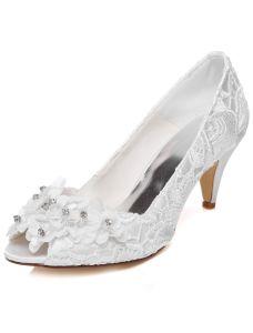 Schöne Spitze Brautschuhe Stilettos Weiß Pumps Bestickte Satin Hochzeitsschuhe Peeptoe