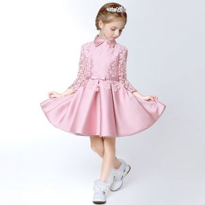 Chic / Beautiful Hall Wedding Party Dresses 2017 Flower Girl Dresses Candy Pink Short A-Line / Princess Cascading Ruffles Bow Sash High Neck Long Sleeve Flower Appliques