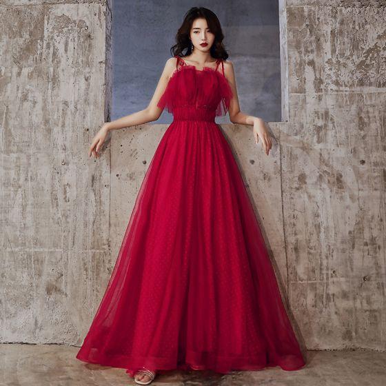 Piękne Burgund Sukienki Wieczorowe 2020 Princessa Spaghetti Pasy Frezowanie Kryształ Bez Rękawów Bez Pleców Długie Sukienki Wizytowe
