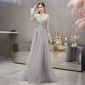 High-end Grey See-through Evening Dresses  2019 A-Line / Princess Square Neckline Long Sleeve Feather Rhinestone Beading Floor-Length / Long Ruffle Formal Dresses