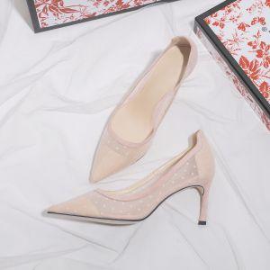 Élégant Rougissant Rose Chaussure De Mariée 2019 Cuir Tachetée 7 cm Talons Aiguilles À Bout Pointu Mariage Escarpins