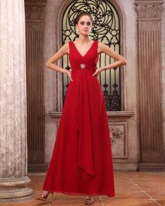 Elegante Chiffon Ruches V Hals Vloerlengte Bruidsmeisjes Jurken