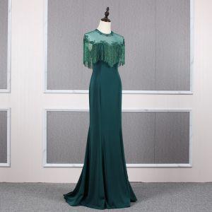 Élégant Vert Foncé Transparentes Robe De Soirée 2020 Princesse Encolure Dégagée Mancherons Perlage Gland Train De Balayage Volants Dos Nu Robe De Ceremonie
