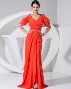 Chiffon V-ausschnitt Epaulet Kurzhülse Rüsche Reißverschluss Boden Länge Celebrity Dress