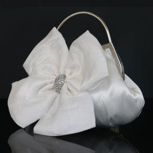 Flower Fairy White Clutch Bags Beading Flower Rhinestone Velour Wedding Accessories 2019