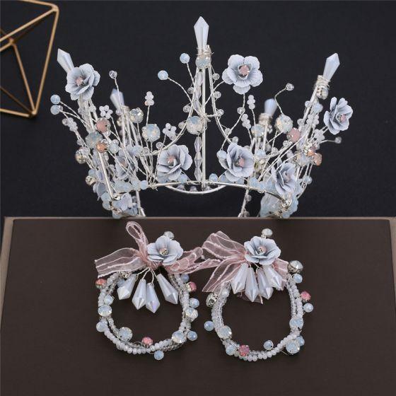 Wróżka Kwiatowa Srebrny Biżuteria Ślubna 2019 Metal Kwiat Frezowanie Rhinestone Tiara Kolczyki Ślub Akcesoria