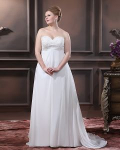 Satin Chiffon Applique Sweetheart Court Plus Size Bridal Gown Wedding Dresses