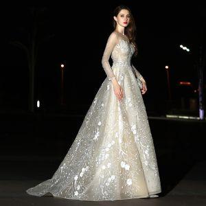 Moderne / Mode Champagne Robe De Mariée 2017 Princesse Encolure Carrée Manches Longues Appliques En Dentelle Train De Balayage