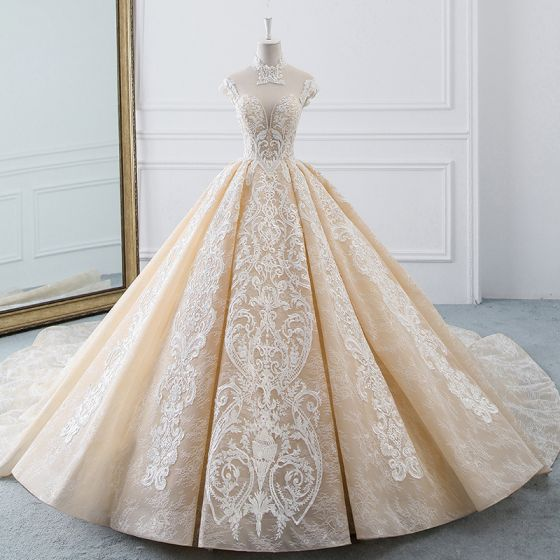 Luxury / Gorgeous Champagne See-through Wedding Dresses 2019 Ball Gown High Neck Sleeveless Backless Appliques Lace Beading Cathedral Train Ruffle