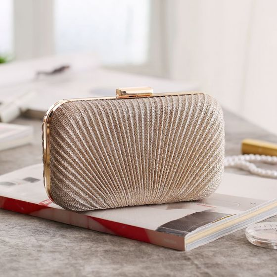 Modest / Simple Gold Ruffle Polyester Clutch Bags 2020 Evening Party Accessories