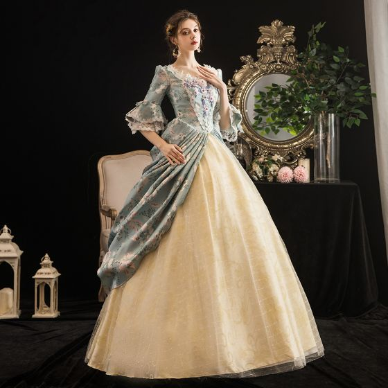 Vintage / Retro Medieval Multi-Colors Ball Gown Prom Dresses 2021 Zipper Up 1/2 Sleeves U-Neck Floor-Length / Long 3D Lace Beading Flower Printing Cosplay Prom Formal Dresses
